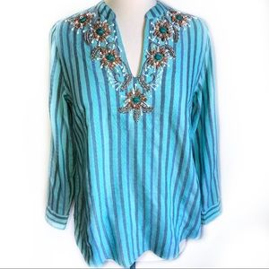 Soft Surroundings Tortola Tunic Beaded Striped PXS